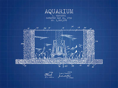 Fish Drawing - 1932 Aquarium Patent - Blueprint by Aged Pixel
