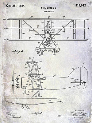 Stearman Photograph - 1924 Airplane Patent by Jon Neidert