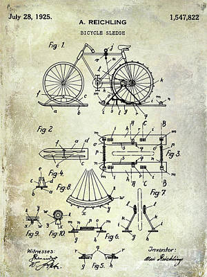 Dale Digital Art - 1925 Bicycle Patent by Jon Neidert