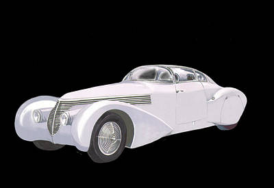 Painting - 1938 Hispano-suiza H6c Saoutchik Xenia Coupe by Jack Pumphrey