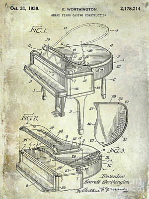 1939 Piano Patent Art Print by Jon Neidert