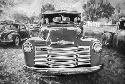 1952 Chevrolet 3100 Series Pick Up Truck Painted Bw   Art Print by Rich Franco