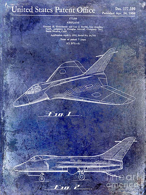 1956 Jet Airplane Patent 2 Blue Art Print by Jon Neidert
