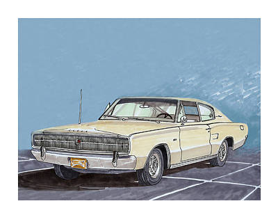 Chargers Drawing - 1966 Dodge Charger by Jack Pumphrey
