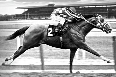 Derek Jeter Mixed Media - 1973 Belmont Stakes, Secretariat, Back Stretch, 1 12 Miles, 2 Min 24 Sec by Thomas Pollart