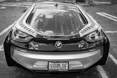 2015 Bmw I8 Hybrid Sports Car Bw Art Print by Rich Franco