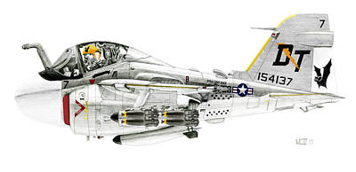 1980s Drawing - A-6e Intruder Caricature by Morrell Cravens