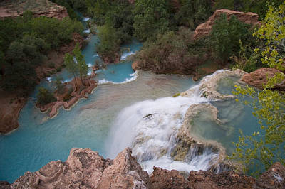 A Blue Waterfall Wets The Arid Art Print by Taylor S. Kennedy