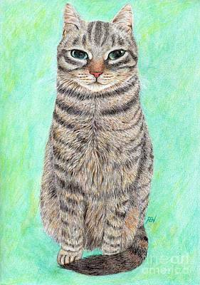 Painting - A Cool Tabby by Jingfen Hwu