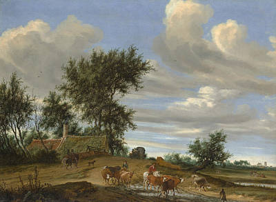 A Country Road Print by Salomon van Ruysdael