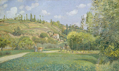 Painting - A Cowherd At Valhermeil, Auvers-sur-oise by Camille Pissarro