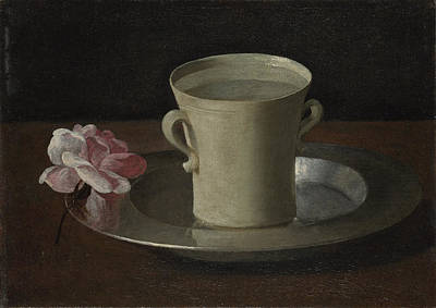 Antique Roses Vase Wall Art - Painting - A Cup Of Water And A Rose by Francisco De Zurbaran