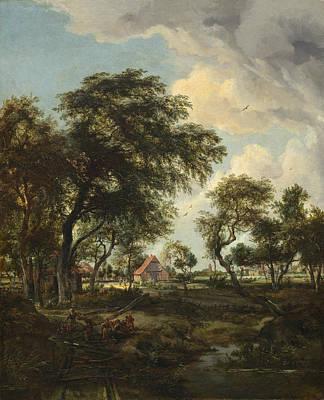 Meindert Hobbema Painting - A Farm In The Sunlight by Meindert Hobbema