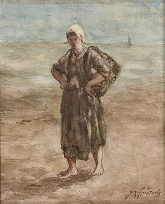 Jozef Israels Painting - A Girl On The Beach by Jozef Israels