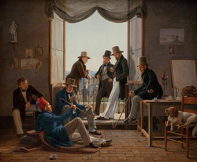 A Group Of Danish Artists In Rome Art Print by Constantin Hansen