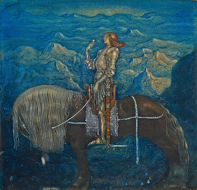 Drawing - A Knight Rode On by John Bauer
