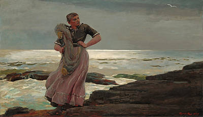 Winslow Homer Painting - A Light On The Sea by Winslow Homer