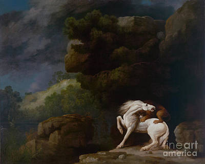 Painting - A Lion Attacking A Horse by Celestial Images