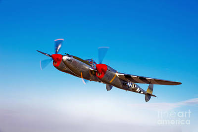 A Lockheed P-38 Lightning Fighter Art Print by Scott Germain