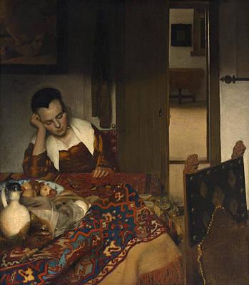 Jan Vermeer Painting - A Maid Asleep by Johannes Vermeer