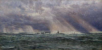 River Painting - A North West Gale Off The Longships by John Brett