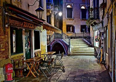 Bistro Photograph - An Evening In Venice by Frozen in Time Fine Art Photography
