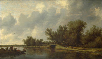 Cloudy Painting - A River Landscape With Fishermen by Salomon van Ruysdael