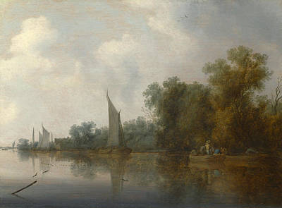 A River With Fishermen Drawing A Net Art Print by Salomon van Ruysdael