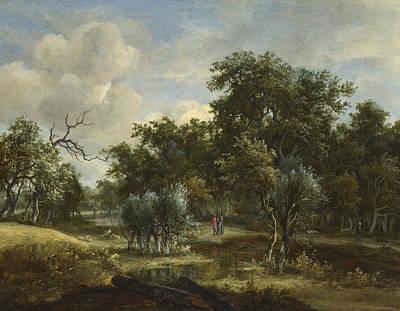 Meindert Hobbema Painting - A Stream By A Wood by Meindert Hobbema