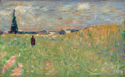 Georges Seurat Painting - A Summer Landscape by Georges Seurat