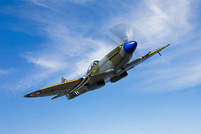 A Supermarine Spitfire Mk-18 In Flight Print by Scott Germain