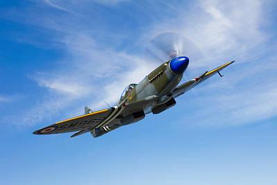 A Supermarine Spitfire Mk-18 In Flight Art Print by Scott Germain