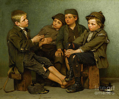 Storytellers Wall Art - Painting - A Tough Story by John George Brown