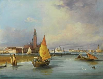 Isola Di Painting - A View Of The Bacino Di San Marco by Carlo Grubacs