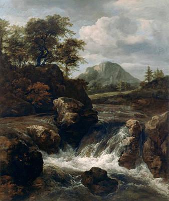 Cascade Painting - A Waterfall by Jacob van Ruisdael