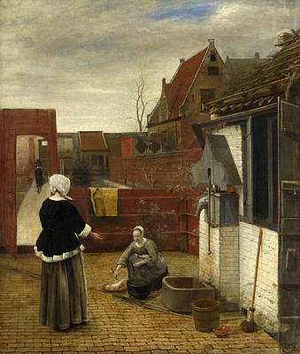 Lady Painting - A Woman And Her Maid In A Courtyard by Pieter de Hooch