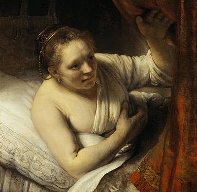 Bed Painting - A Woman In Bed by Rembrandt van Rijn