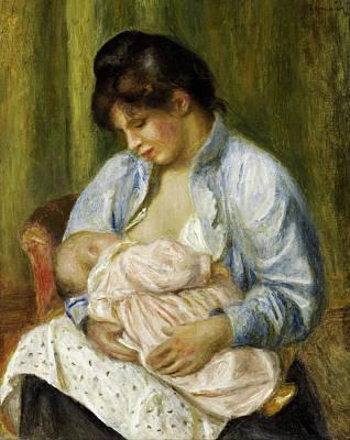Nurture Painting - A Woman Nursing A Child by Pierre-Auguste Renoir