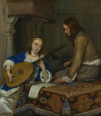 Painting - A Woman Playing The Theorbo-lute And A Cavalier by Gerard ter Borch