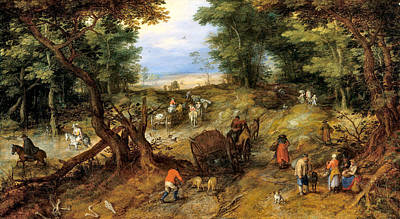 Photograph - A Woodland Road With Travelers by Jan Brueghel the Elder