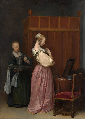 Glass Painting - A Young Woman At Her Toilet With A Maid by Gerard ter Borch