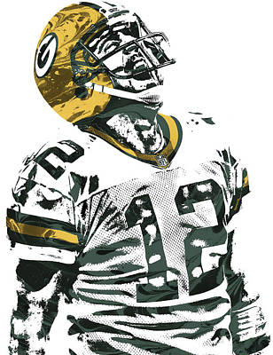Mixed Media - Aaron Rodgers Green Bay Packers Pixel Art 4 by Joe Hamilton