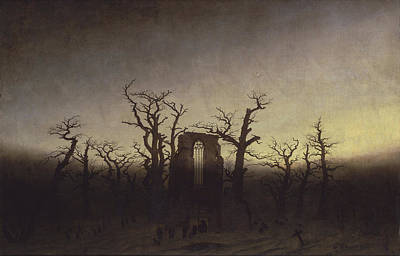 Medieval Temple Painting - Abbey Among Oak Trees by Caspar David Friedrich
