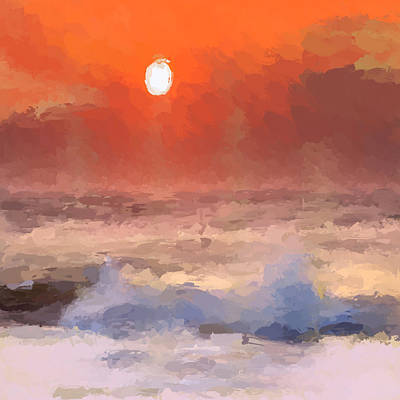 Mixed Media - Abstract Beach Sunrise by Anthony Fishburne