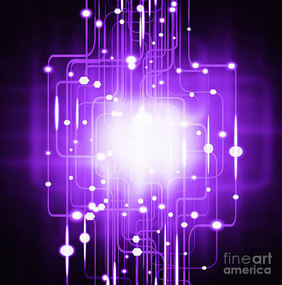 Abstract Circuit Board Lighting Effect  Art Print