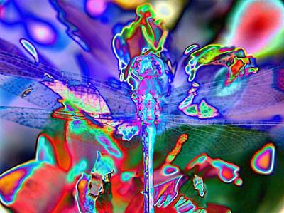 Brass Dragonfly Digital Art - Abstract Dragonfly by Belinda Cox
