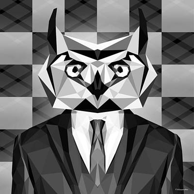 Geometric Animal Digital Art - Abstract Owl by Gallini Design