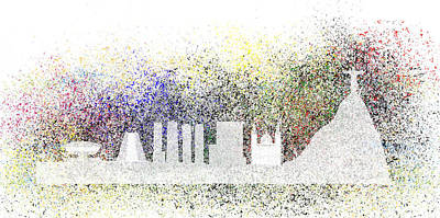 Jesus Christ Digital Art - Abstract Rio De Janeiro Skyline by Michal Boubin