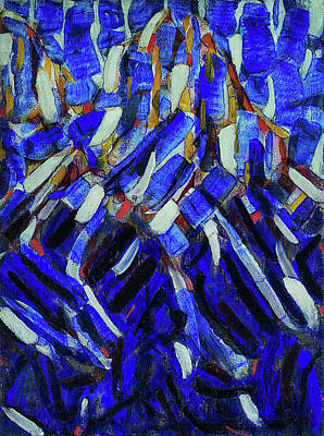 Expressionist Painting - Abstraction, The Blue Mountain by Christian Rohlfs