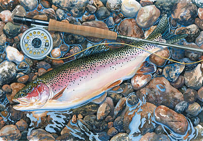 Trout Painting - Actual Size by Mark Jennings